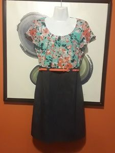 Alyx Floral Denim Dress size 8 Career cute